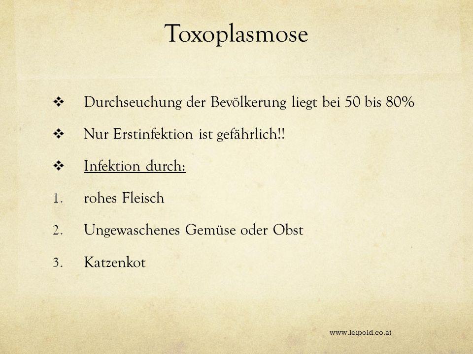 Toxoplasmose Durchseuchung der Bevölkerung liegt bei 50 bis 80% Nur Erstinfektion ist gefährlich!! Infektion durch: 1. rohes Fleisch 2. Ungewaschenes