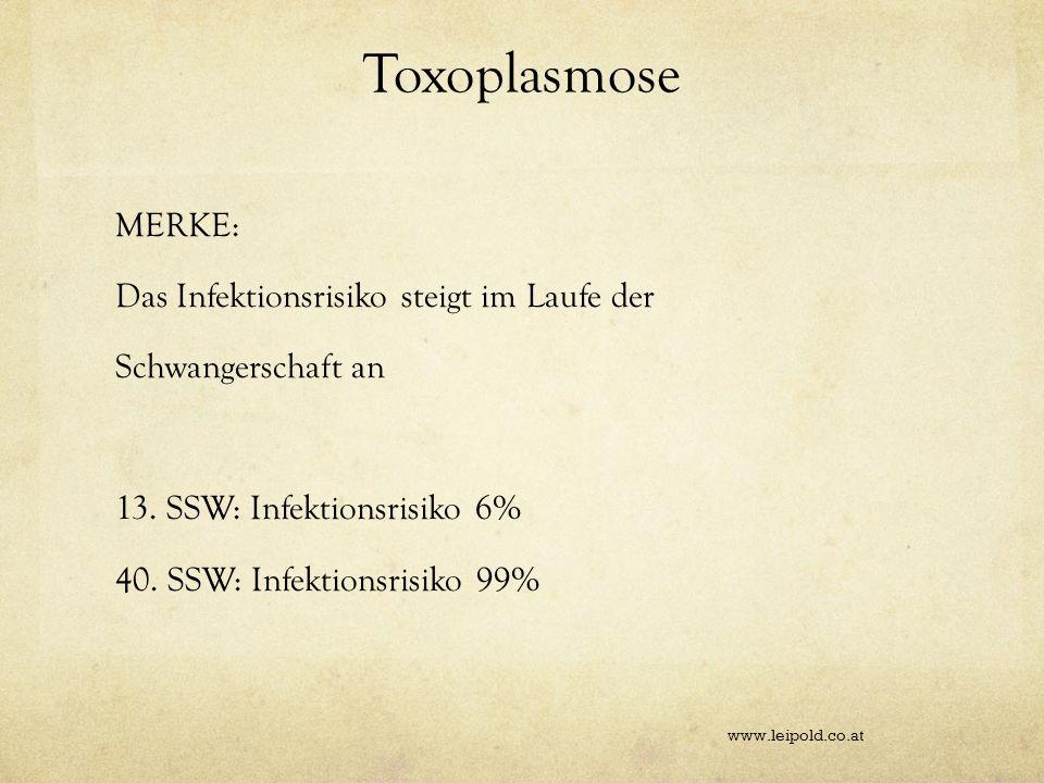 Toxoplasmose MERKE: Das Infektionsrisiko steigt im Laufe der Schwangerschaft an 13. SSW: Infektionsrisiko 6% 40. SSW: Infektionsrisiko 99% www.leipold