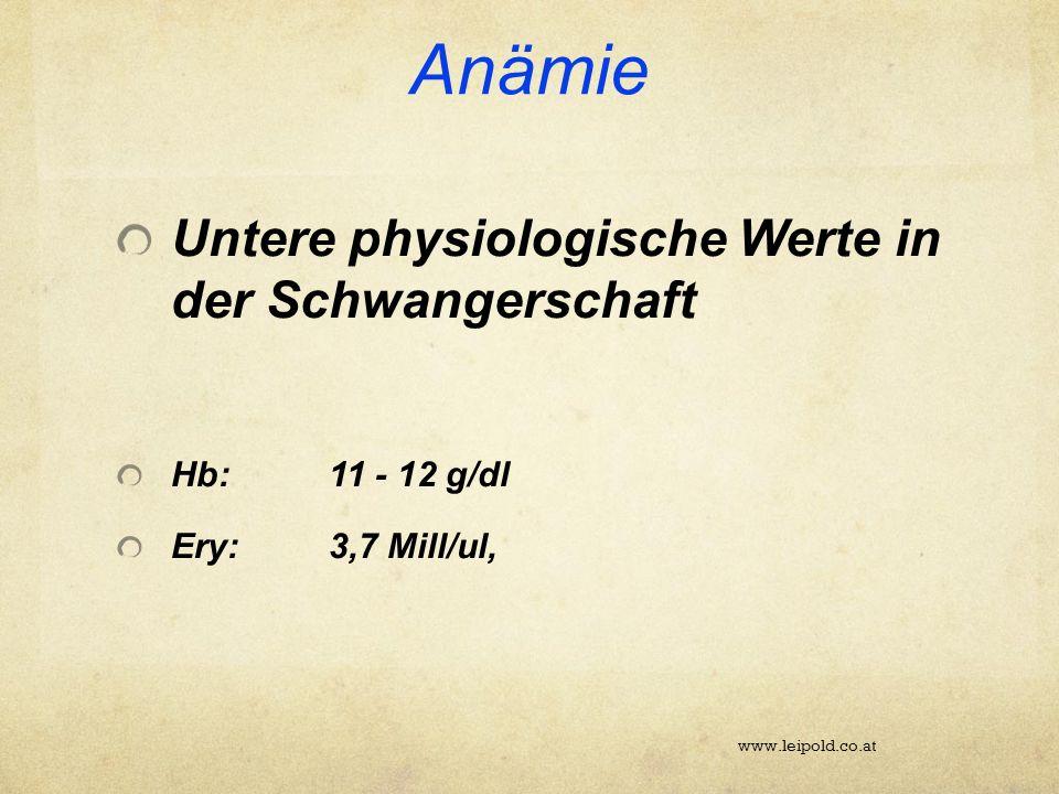 Anämie Untere physiologische Werte in der Schwangerschaft Hb:11 - 12 g/dl Ery:3,7 Mill/ul, www.leipold.co.at