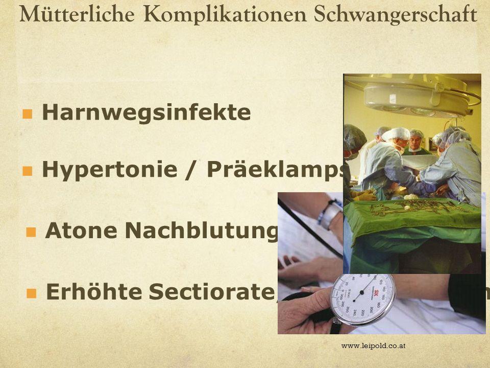 Mütterliche Komplikationen Schwangerschaft www.leipold.co.at Erhöhte Sectiorate/vagop Methoden Harnwegsinfekte Hypertonie / Präeklampsie Atone Nachblu