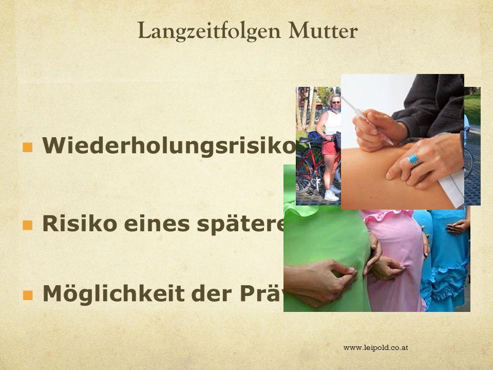 Langzeitfolgen Mutter www.leipold.co.at Wiederholungsrisiko Risiko eines späteren DM Möglichkeit der Prävention