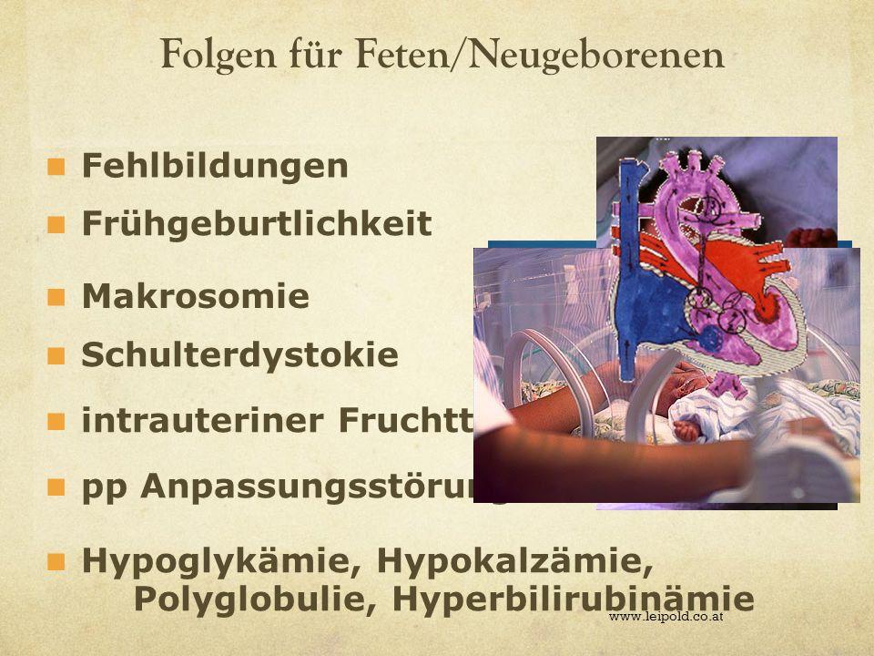 Folgen für Feten/Neugeborenen www.leipold.co.at pp Anpassungsstörungen Fehlbildungen Frühgeburtlichkeit Makrosomie Hypoglykämie, Hypokalzämie, Polyglo