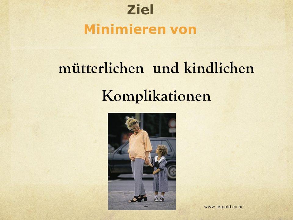 mütterlichen und kindlichen Komplikationen www.leipold.co.at Ziel Minimieren von