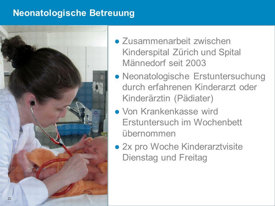 20 Zusammenarbeit zwischen Kinderspital Zürich und Spital Männedorf seit 2003 Neonatologische Erstuntersuchung durch erfahrenen Kinderarzt oder Kinder