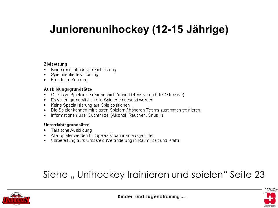 Kinder- und Jugendtraining maw05 Juniorenunihockey (12-15 Jährige) Siehe Unihockey trainieren und spielen Seite 23