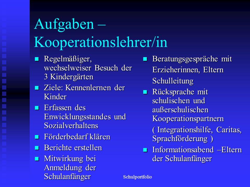 Schule und Kindergarten Kooperationsmaßnahmen ab 2008/2009 Schulportfolio