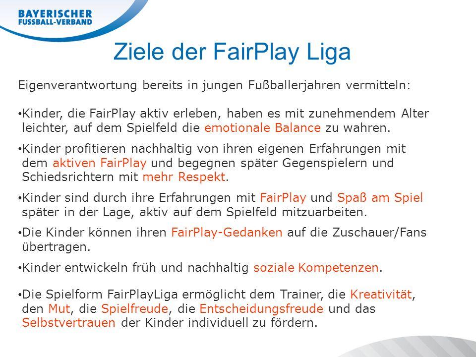 Ziele der FairPlay Liga Eigenverantwortung bereits in jungen Fußballerjahren vermitteln: Kinder, die FairPlay aktiv erleben, haben es mit zunehmendem