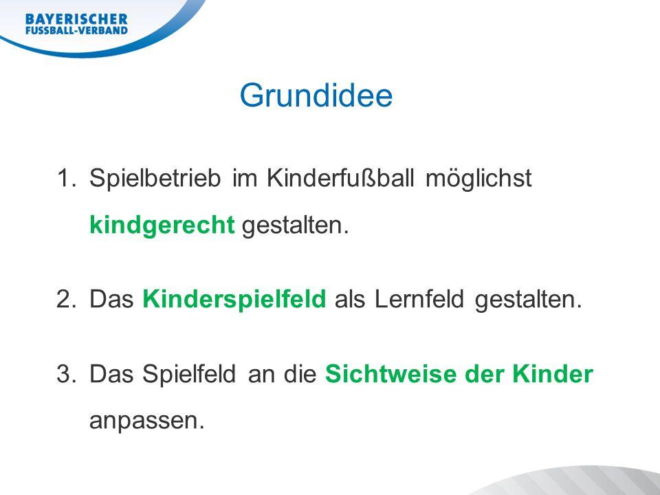 Grundidee 1.Spielbetrieb im Kinderfußball möglichst kindgerecht gestalten. 2.Das Kinderspielfeld als Lernfeld gestalten. 3.Das Spielfeld an die Sichtw
