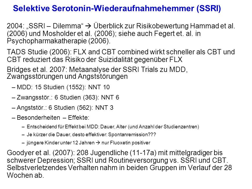 Selektive Serotonin-Wiederaufnahmehemmer (SSRI) 2004: SSRI – Dilemma Überblick zur Risikobewertung Hammad et al. (2006) und Mosholder et al. (2006); s