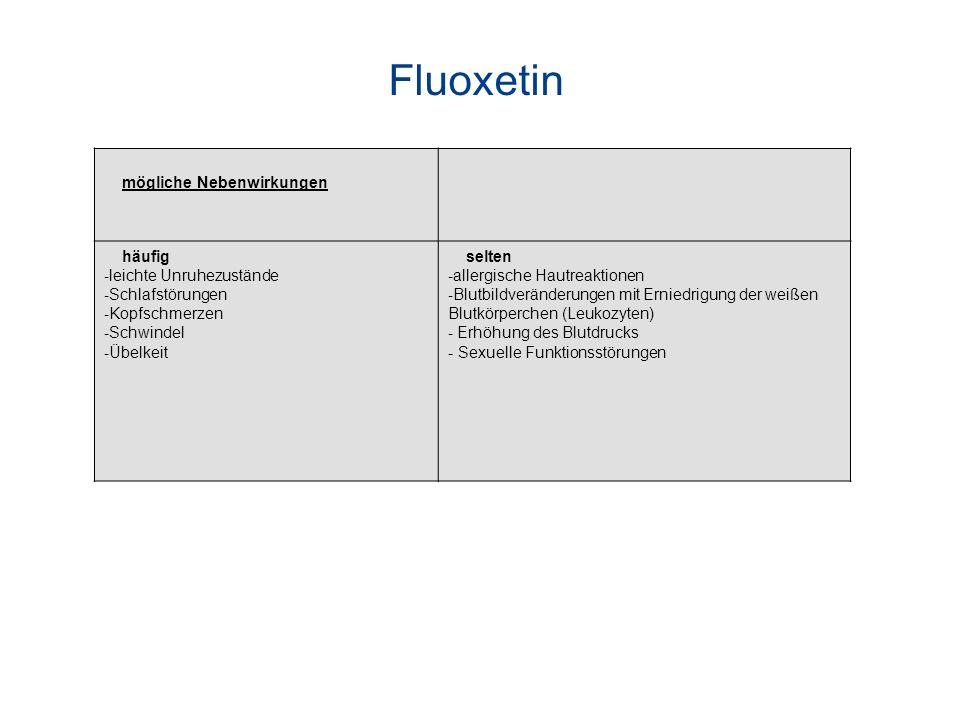 Fluoxetin mögliche Nebenwirkungen häufig - leichte Unruhezustände - Schlafstörungen - Kopfschmerzen - Schwindel - Übelkeit selten - allergische Hautre