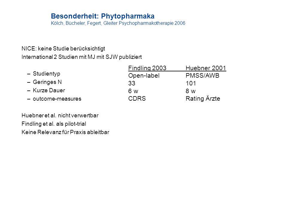 Besonderheit: Phytopharmaka Kölch, Bücheler, Fegert, Gleiter Psychopharmakotherapie 2006 NICE: keine Studie berücksichtigt International 2 Studien mit