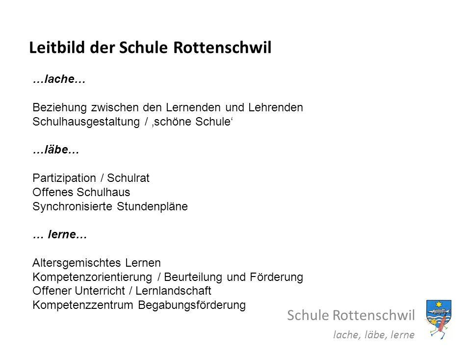 Leitbild der Schule Rottenschwil Schule Rottenschwil lache, läbe, lerne …lache… Beziehung zwischen den Lernenden und Lehrenden Schulhausgestaltung / s