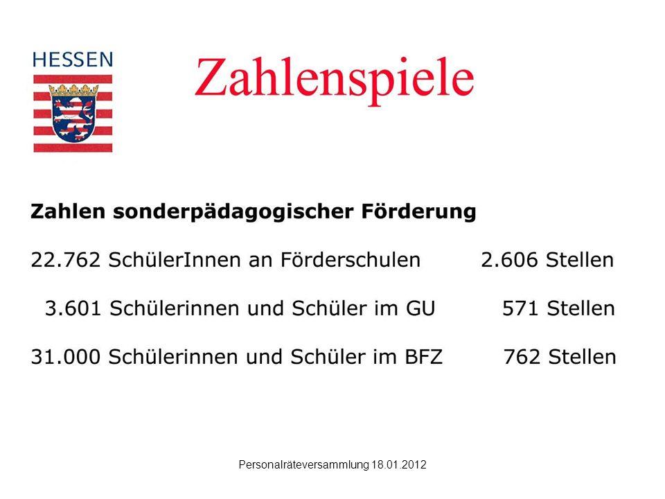 Hanau Personalräteversammlung 18.01.2012 Was ändert die Inklusion.