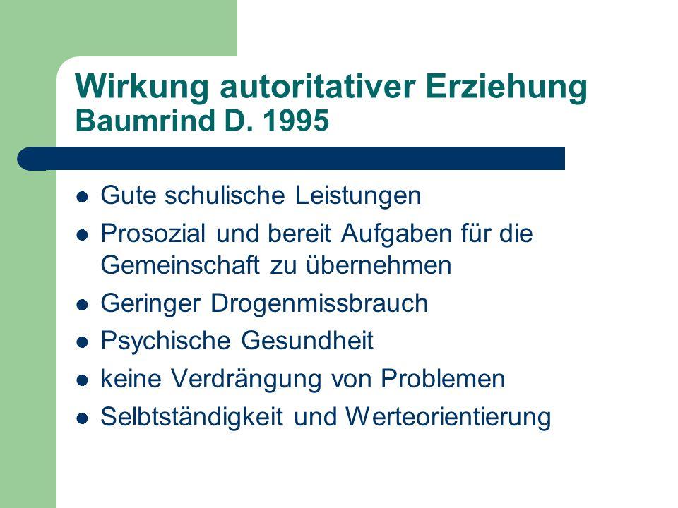 Wirkung autoritativer Erziehung Baumrind D.