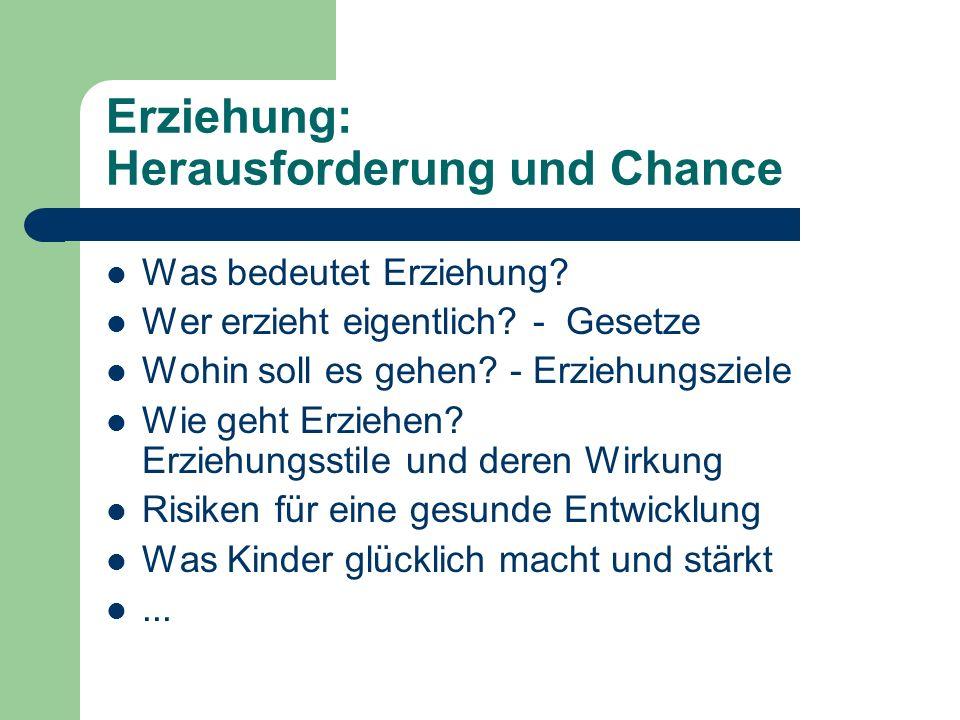 Erziehung: Herausforderung und Chance Was bedeutet Erziehung? Wer erzieht eigentlich? - Gesetze Wohin soll es gehen? - Erziehungsziele Wie geht Erzieh