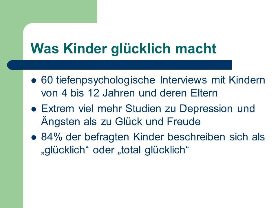 Was Kinder glücklich macht 60 tiefenpsychologische Interviews mit Kindern von 4 bis 12 Jahren und deren Eltern Extrem viel mehr Studien zu Depression und Ängsten als zu Glück und Freude 84% der befragten Kinder beschreiben sich als glücklich oder total glücklich