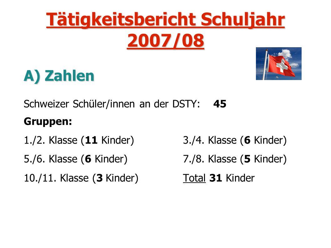 Tätigkeitsbericht Schuljahr 2007/08 A) Zahlen Schweizer Schüler/innen an der DSTY: 45 Gruppen: 1./2. Klasse (11 Kinder) 3./4. Klasse (6 Kinder) 5./6.