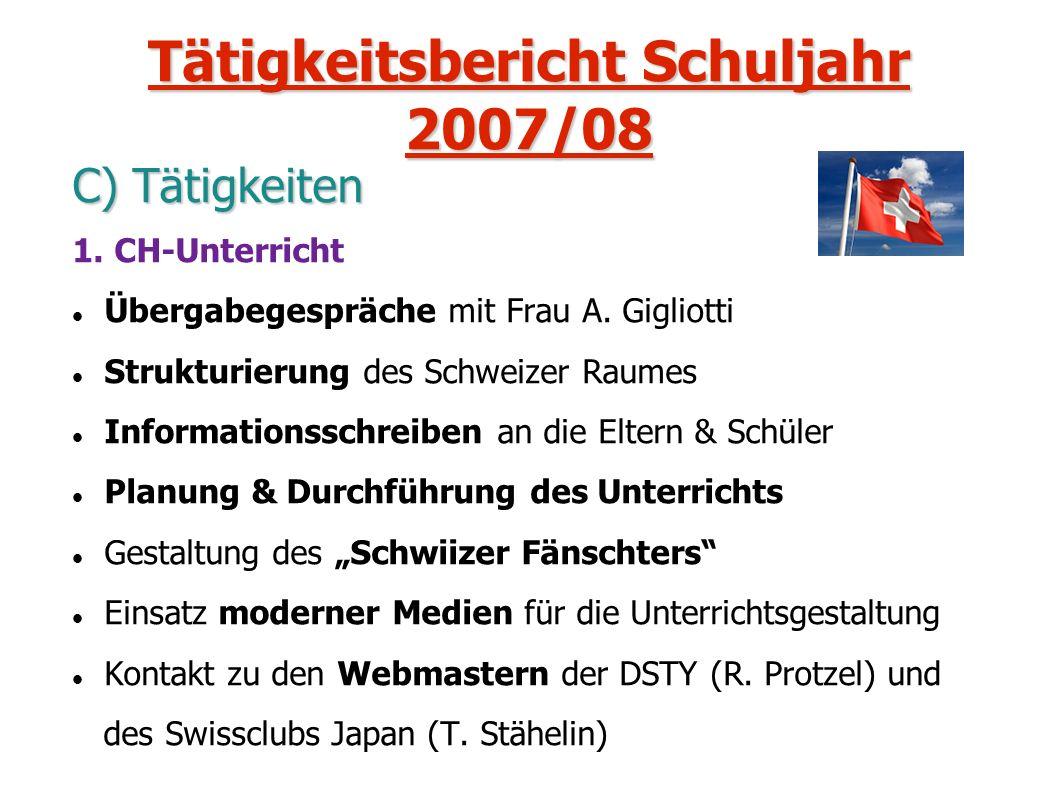 Tätigkeitsbericht Schuljahr 2007/08 C) Tätigkeiten 1. CH-Unterricht Übergabegespräche mit Frau A. Gigliotti Strukturierung des Schweizer Raumes Inform