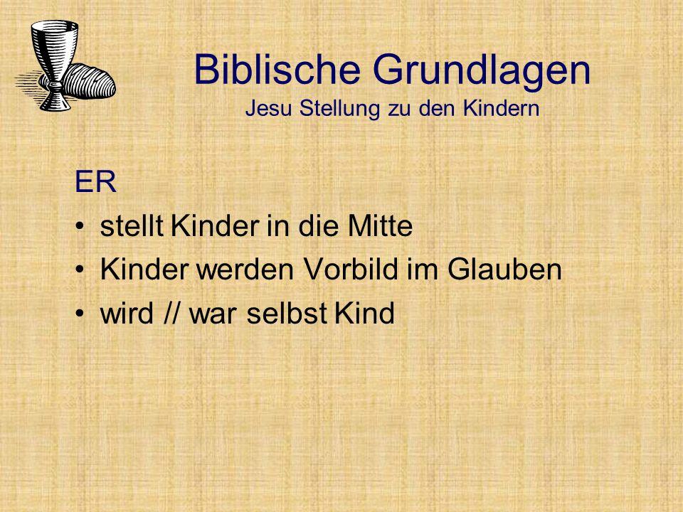 ER stellt Kinder in die Mitte Kinder werden Vorbild im Glauben wird // war selbst Kind Biblische Grundlagen Jesu Stellung zu den Kindern