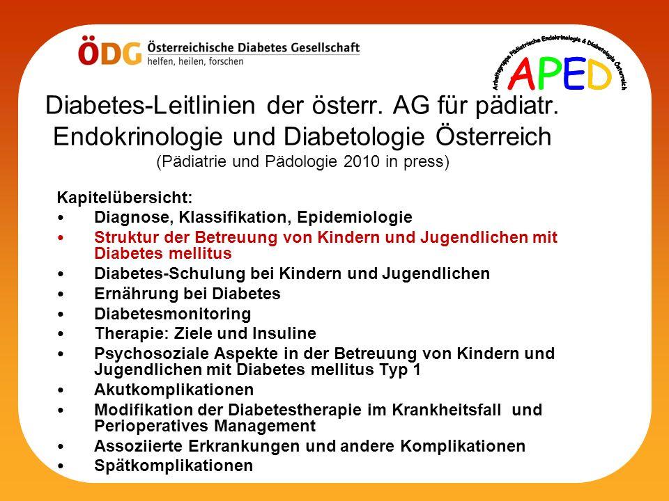 Diabetes-Leitlinien der österr. AG für pädiatr. Endokrinologie und Diabetologie Österreich (Pädiatrie und Pädologie 2010 in press) Kapitelübersicht: D
