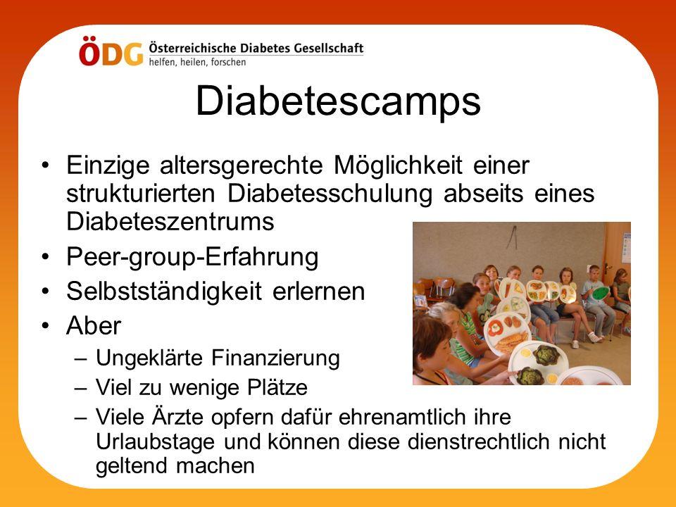 Diabetescamps Einzige altersgerechte Möglichkeit einer strukturierten Diabetesschulung abseits eines Diabeteszentrums Peer-group-Erfahrung Selbstständ