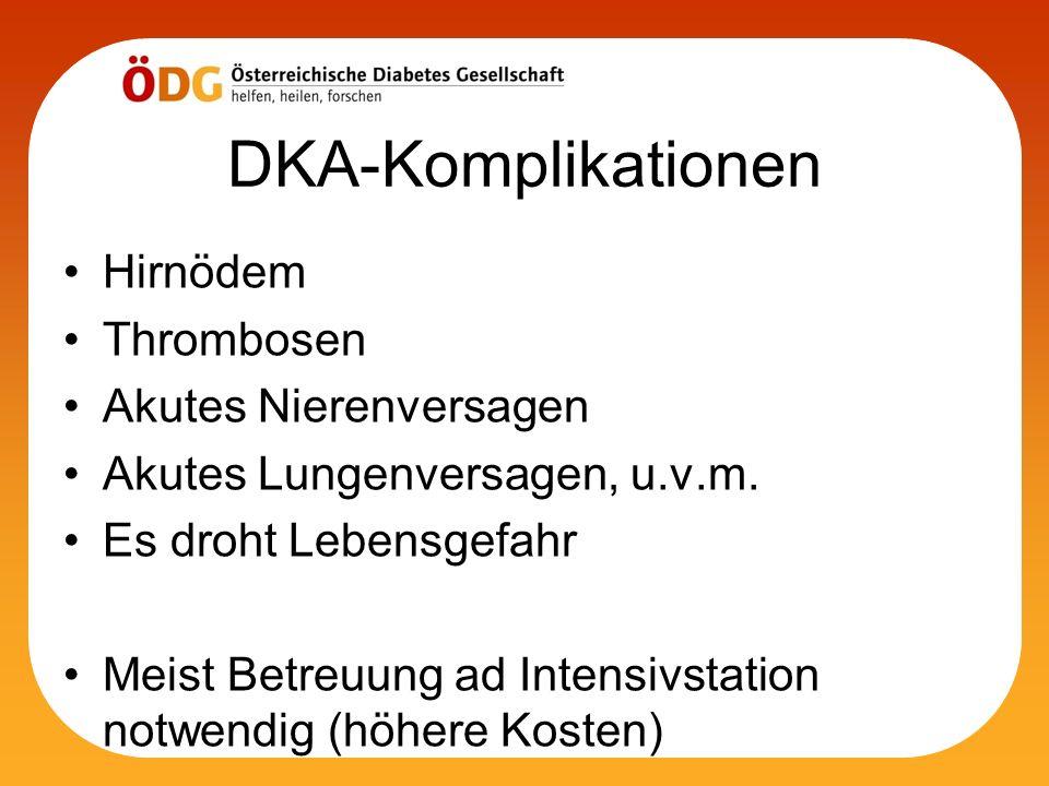 DKA-Komplikationen Hirnödem Thrombosen Akutes Nierenversagen Akutes Lungenversagen, u.v.m. Es droht Lebensgefahr Meist Betreuung ad Intensivstation no