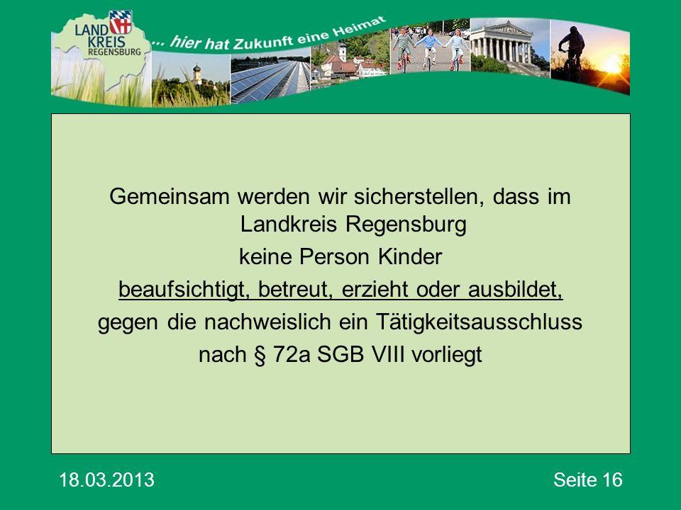 18.03.2013Seite 16 Gemeinsam werden wir sicherstellen, dass im Landkreis Regensburg keine Person Kinder beaufsichtigt, betreut, erzieht oder ausbildet, gegen die nachweislich ein Tätigkeitsausschluss nach § 72a SGB VIII vorliegt