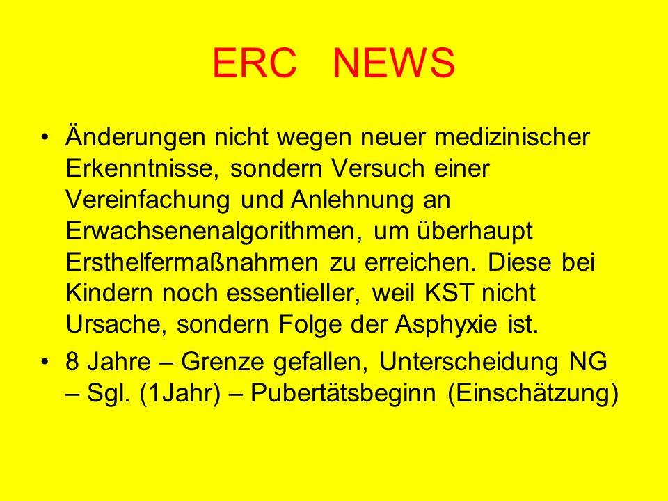 ERC NEWS Änderungen nicht wegen neuer medizinischer Erkenntnisse, sondern Versuch einer Vereinfachung und Anlehnung an Erwachsenenalgorithmen, um über