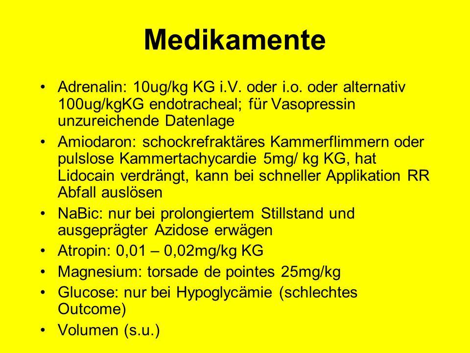 Medikamente Adrenalin: 10ug/kg KG i.V. oder i.o. oder alternativ 100ug/kgKG endotracheal; für Vasopressin unzureichende Datenlage Amiodaron: schockref