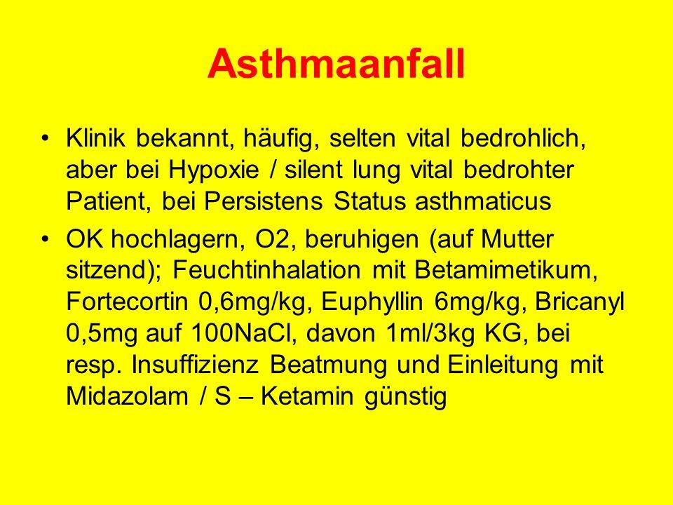 Asthmaanfall Klinik bekannt, häufig, selten vital bedrohlich, aber bei Hypoxie / silent lung vital bedrohter Patient, bei Persistens Status asthmaticu