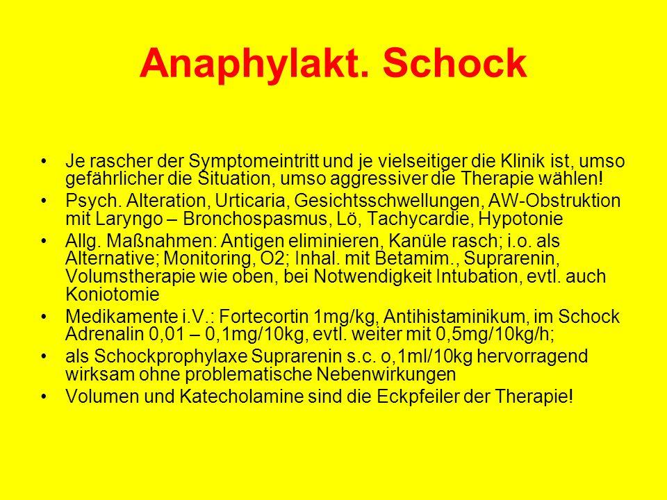Anaphylakt. Schock Je rascher der Symptomeintritt und je vielseitiger die Klinik ist, umso gefährlicher die Situation, umso aggressiver die Therapie w