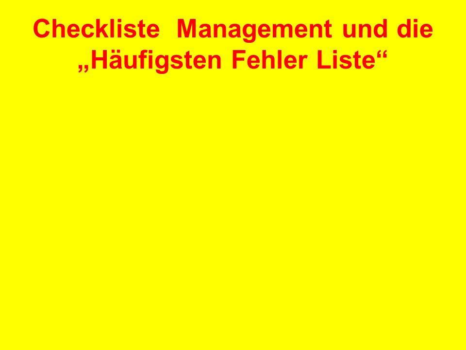 Checkliste Management und die Häufigsten Fehler Liste