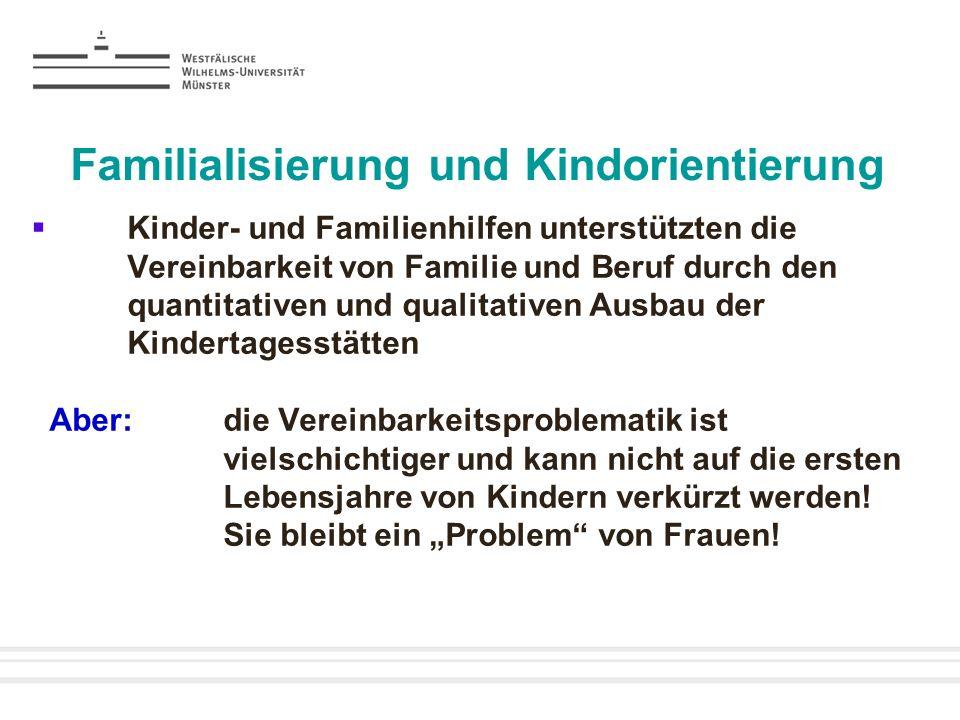 Familialisierung und Kindorientierung Kinder- und Familienhilfen unterstützten die Vereinbarkeit von Familie und Beruf durch den quantitativen und qua