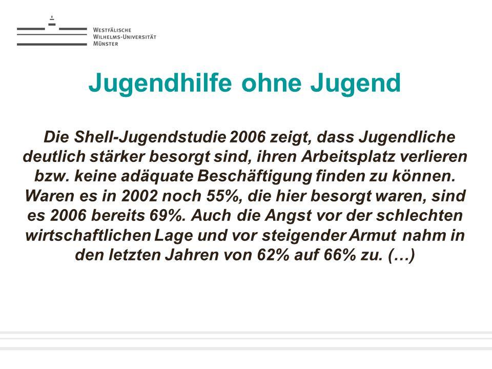 Jugendhilfe ohne Jugend Die Shell-Jugendstudie 2006 zeigt, dass Jugendliche deutlich stärker besorgt sind, ihren Arbeitsplatz verlieren bzw. keine adä