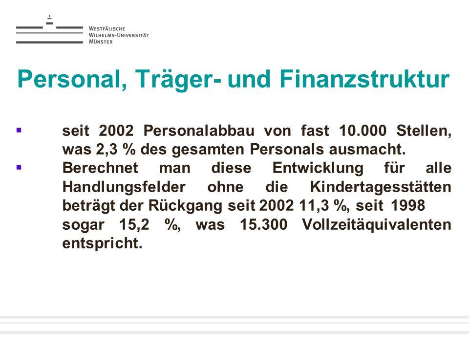 Personal, Träger- und Finanzstruktur seit 2002 Personalabbau von fast 10.000 Stellen, was 2,3 % des gesamten Personals ausmacht. Berechnet man diese E