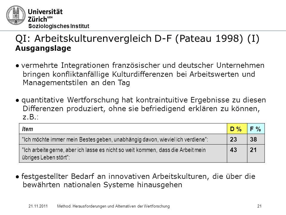 Soziologisches Institut 21.11.2011Method. Herausforderungen und Alternativen der Wertforschung21 QI: Arbeitskulturenvergleich D-F (Pateau 1998) (I) Au