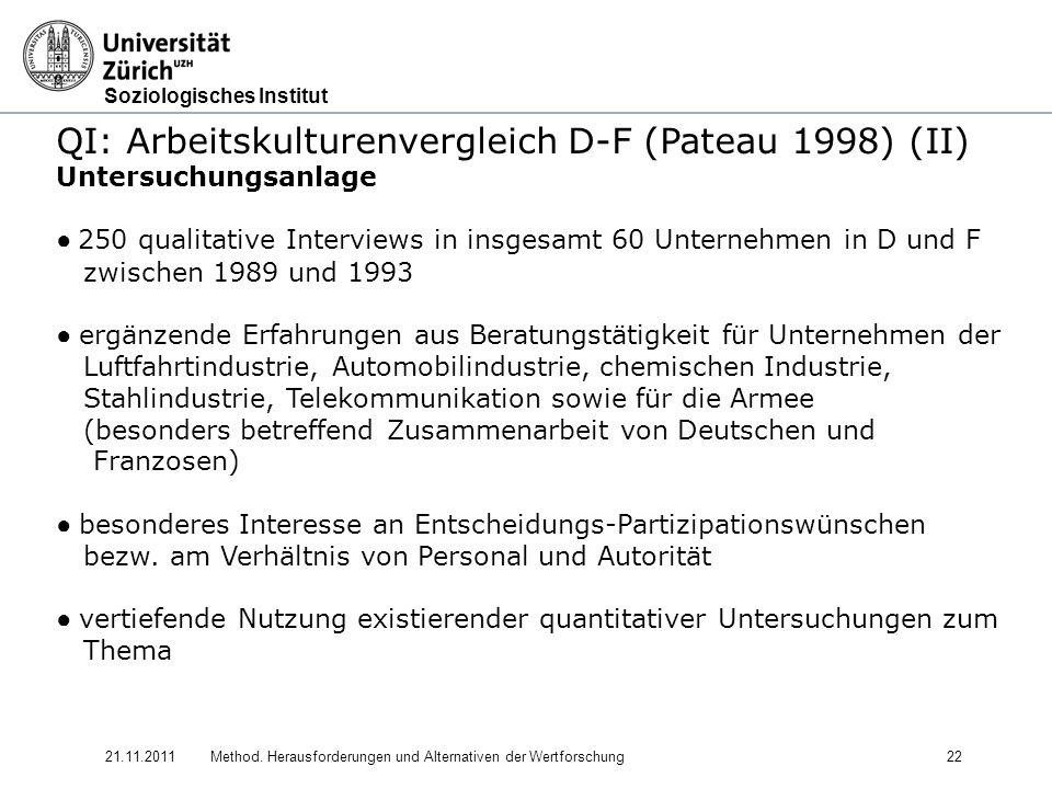 Soziologisches Institut 21.11.2011Method. Herausforderungen und Alternativen der Wertforschung22 QI: Arbeitskulturenvergleich D-F (Pateau 1998) (II) U