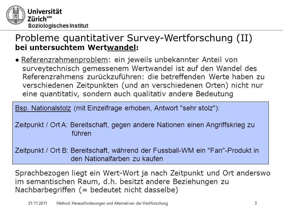 Soziologisches Institut 21.11.2011Method. Herausforderungen und Alternativen der Wertforschung3 Probleme quantitativer Survey-Wertforschung (II) bei u