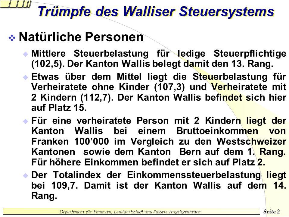 Seite 1 Departement für Finanzen, Landwirtschaft und äussere Angelegenheiten Trümpfe des Walliser Steuersystems