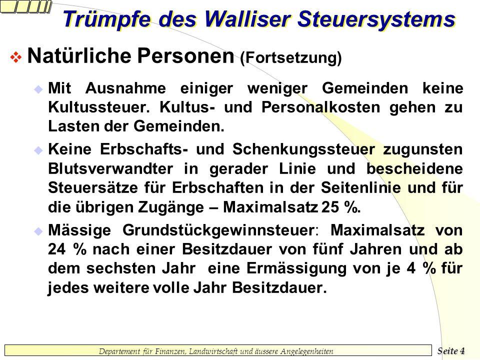 Seite 3 Departement für Finanzen, Landwirtschaft und äussere Angelegenheiten Trümpfe des Walliser Steuersystems Natürliche Personen (Fortsetzung) Mäss