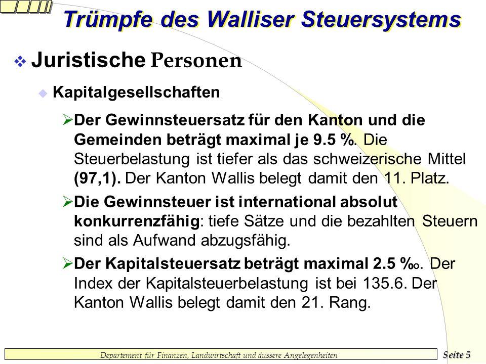Seite 4 Departement für Finanzen, Landwirtschaft und äussere Angelegenheiten Trümpfe des Walliser Steuersystems Natürliche Personen (Fortsetzung) Mit