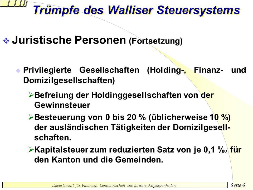Seite 5 Departement für Finanzen, Landwirtschaft und äussere Angelegenheiten Trümpfe des Walliser Steuersystems Juristische Personen Kapitalgesellscha