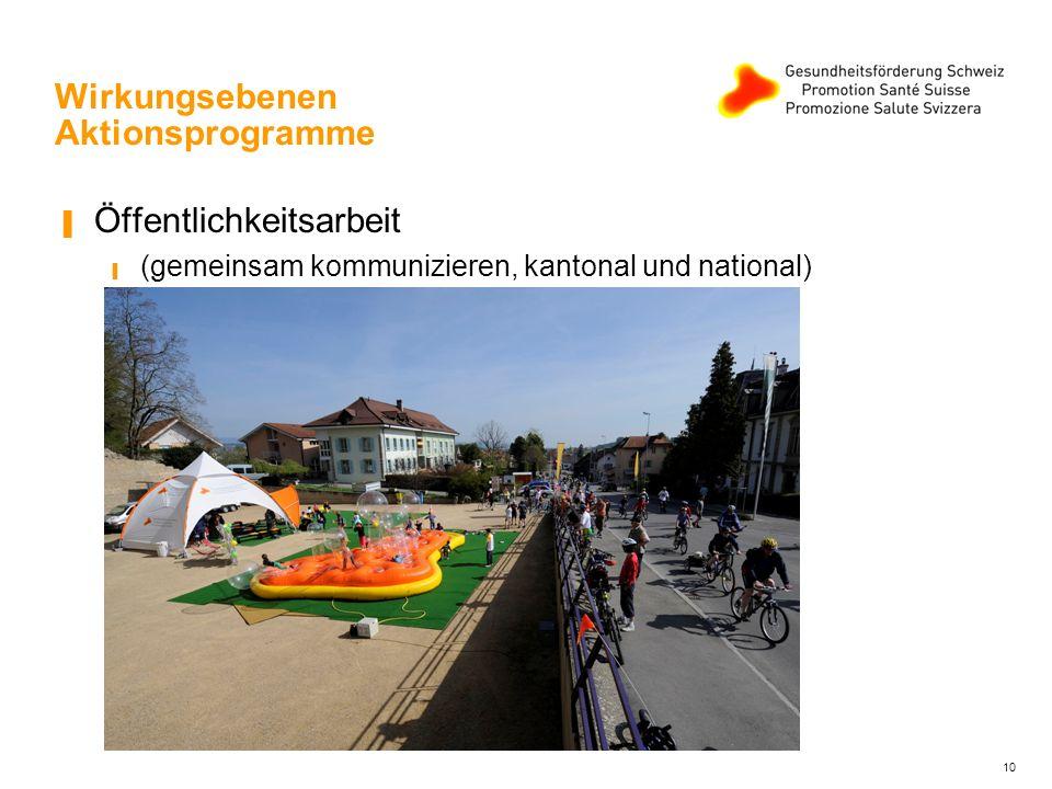 11 Wirkungsebenen Aktionsprogramme Vernetzung (interkantonal, national und auch international)