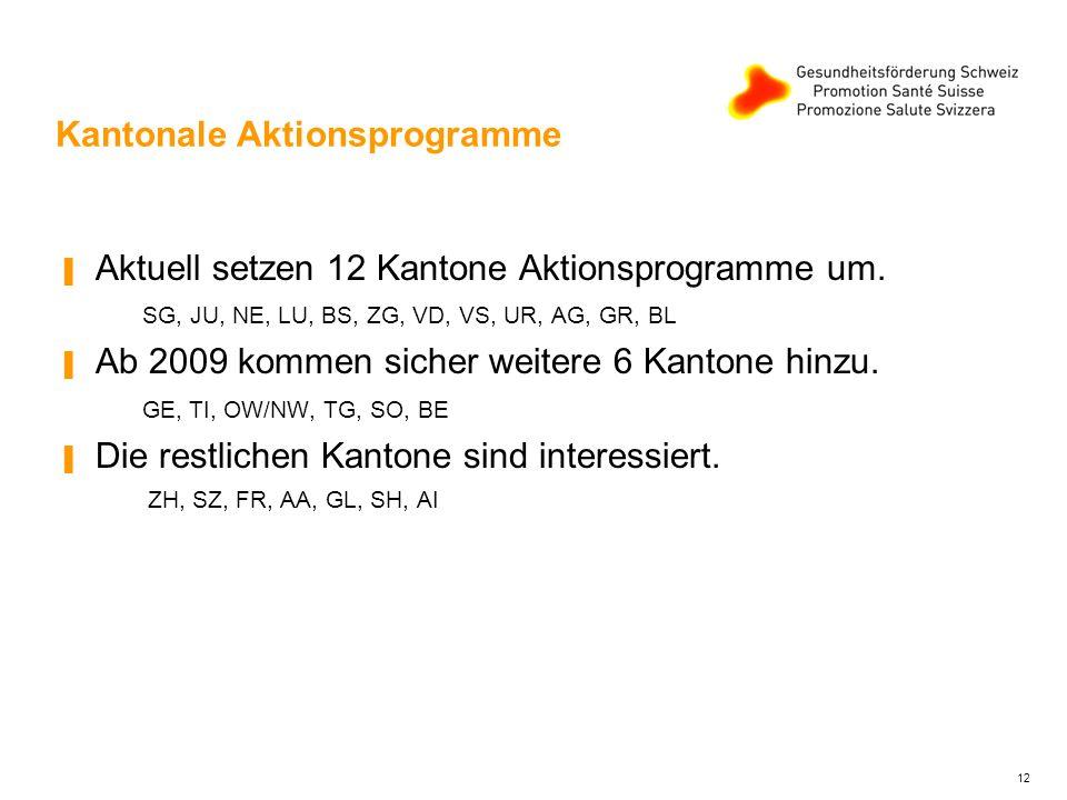 12 Kantonale Aktionsprogramme Aktuell setzen 12 Kantone Aktionsprogramme um. SG, JU, NE, LU, BS, ZG, VD, VS, UR, AG, GR, BL Ab 2009 kommen sicher weit