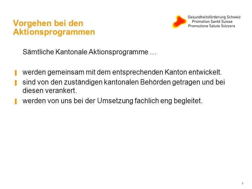 8 Wirkungsebenen Aktionsprogramme Interventionen für/bei Kindern und Jugendlichen (Projekte/ Module umsetzen, z.