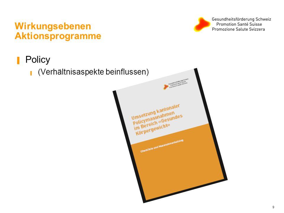 10 Wirkungsebenen Aktionsprogramme Öffentlichkeitsarbeit (gemeinsam kommunizieren, kantonal und national)