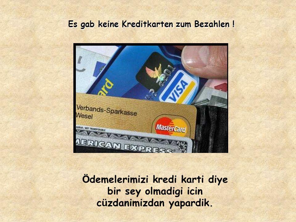 Es gab keine Kreditkarten zum Bezahlen .
