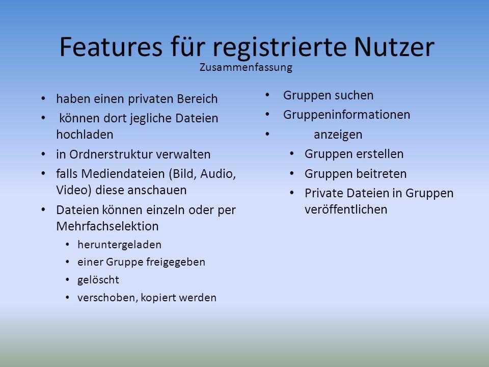 Features für registrierte Nutzer haben einen privaten Bereich können dort jegliche Dateien hochladen in Ordnerstruktur verwalten falls Mediendateien (