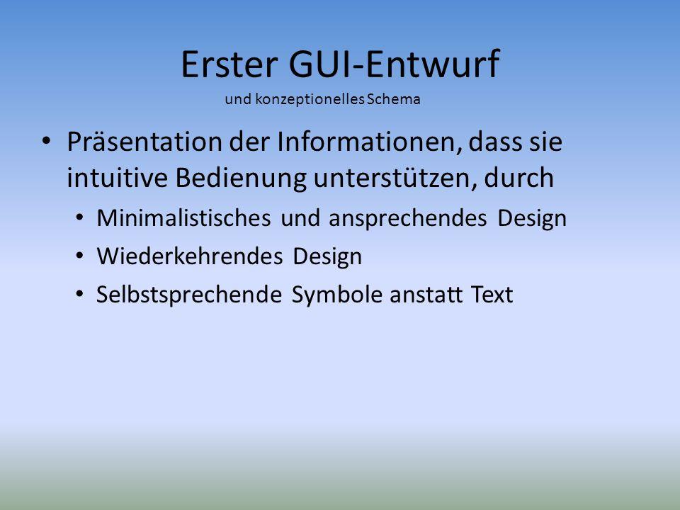 Erster GUI-Entwurf Präsentation der Informationen, dass sie intuitive Bedienung unterstützen, durch Minimalistisches und ansprechendes Design Wiederke