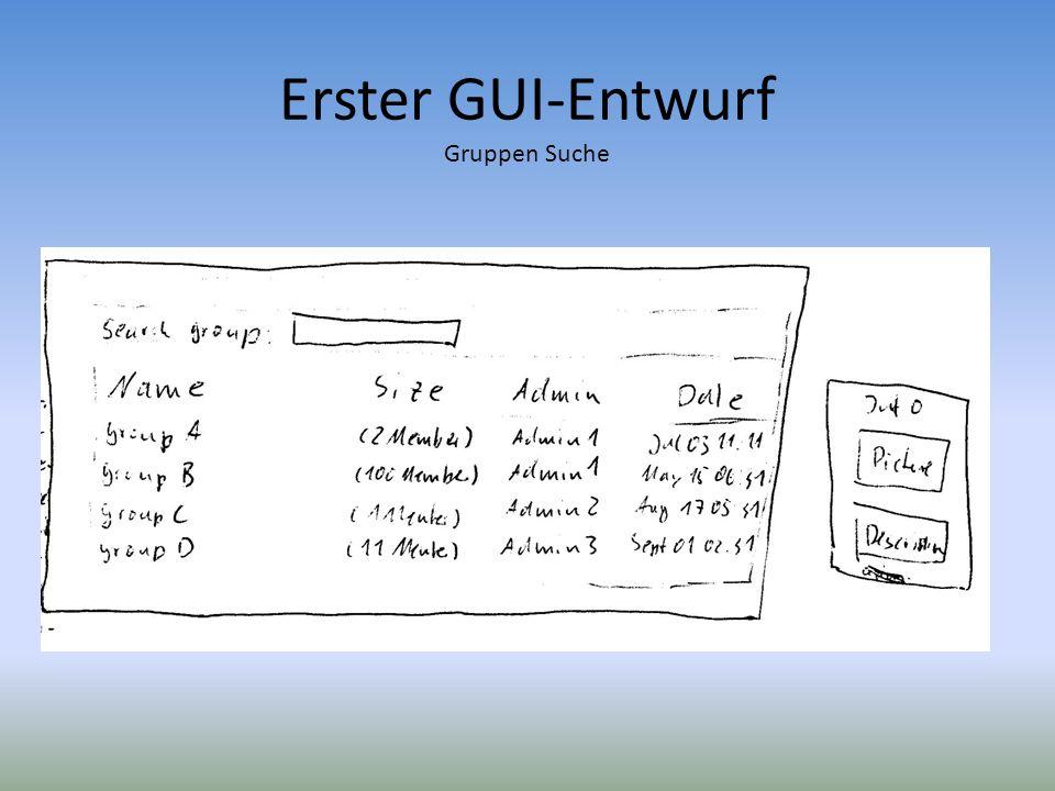 Erster GUI-Entwurf Gruppen Suche